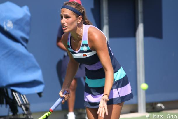 Monica Puig reacts after losing a point during her final-round qualifying match at the 2017 Western & Southern Open. | Photo: Max Gao