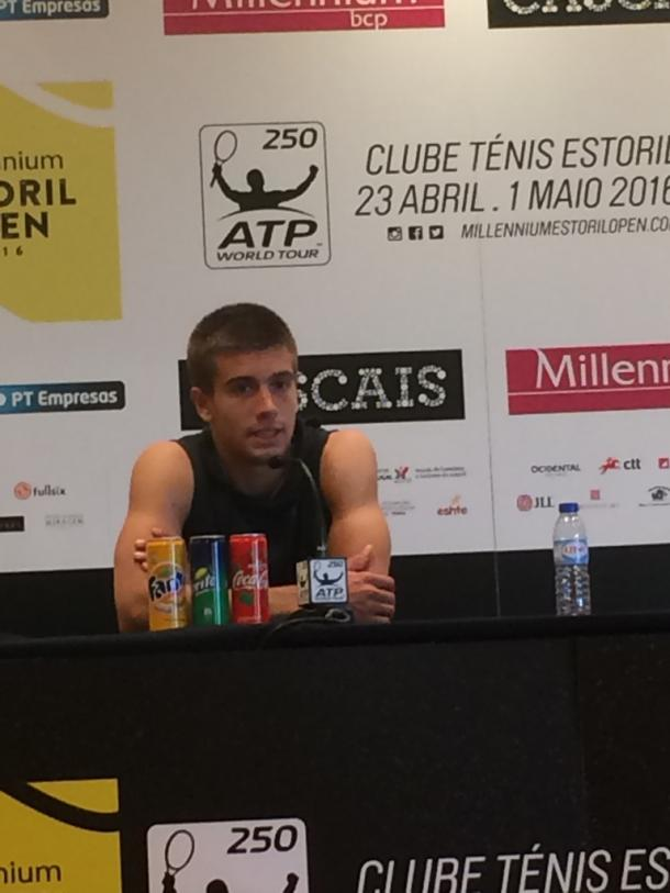 Borna Coric talking to the press at the end of is match. He defeated Andrea Arnaboldi 6-4,6-1. (Pedro Cunha/VAVEL)