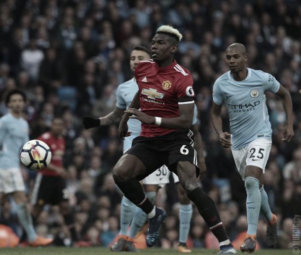 Pogba durante el pasado derby   Imagen: Manchester United