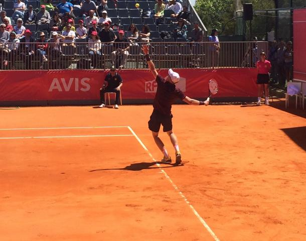 Kyle Edmund on his way to his straight sets victory over Gimeno-Traver (Pedro Cunha/VAVEL)