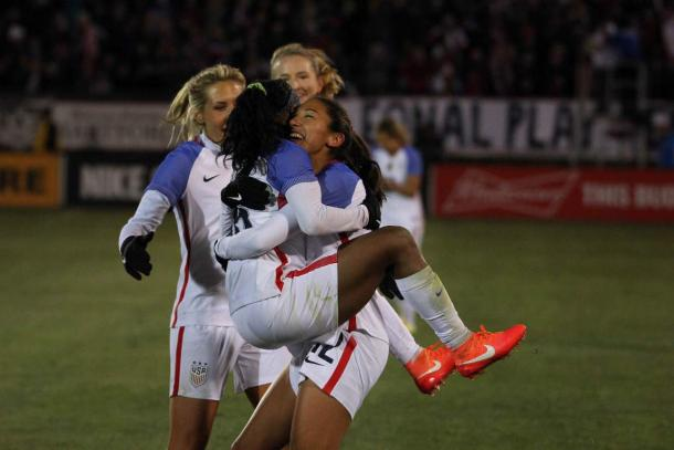 The USWNT celebrating the seventh and final goal against Colombia on Wednesday at Rentschler Field. Photo provided by James Wichert.