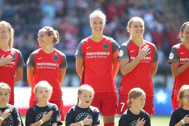 International players including Dagny Brynjarsdottir and Lindsay Horan made appearances after coming back from international play | Source: Portland Thorns