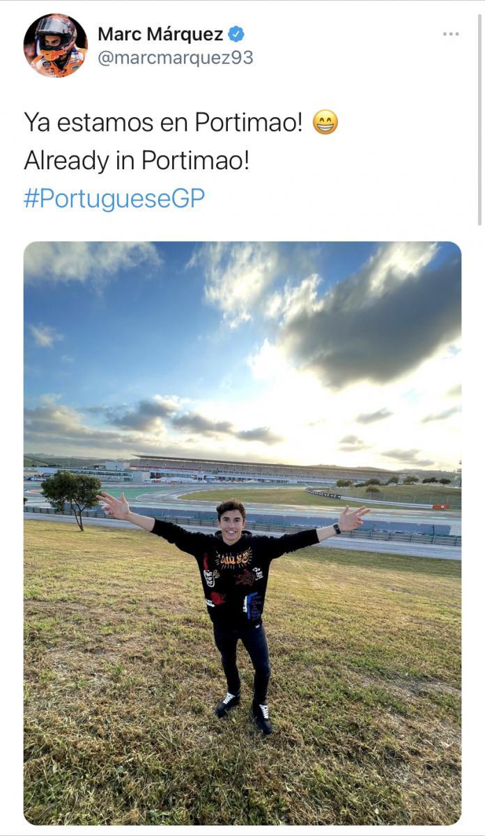 Así compartía ayer el piloto cerverino con sus fans su llegada al circuito del Algarve