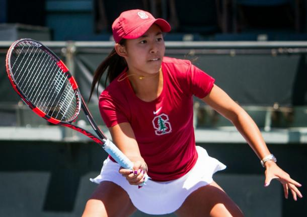 Carol Zhao in action during her freshman year of college tennis with Stanford University. | Photo: TriNguyenPhotography.com