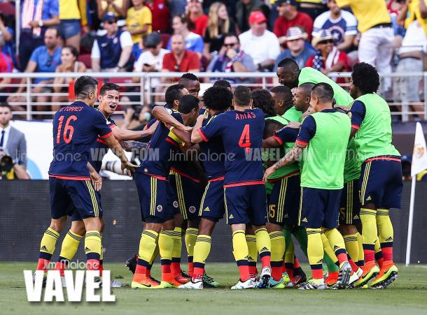 The Colombians celebrating their 2-0 victory over the United States in the Copa America Centenario opener at Levi's Stadium. Photo provided by VAVEL.