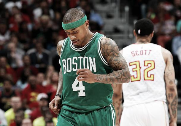 Isaiah Thomas suffered a hip injury in the regular season, then re-injured the hip in the Playoffs. Photo: Kevin C. Cox/Getty Images.