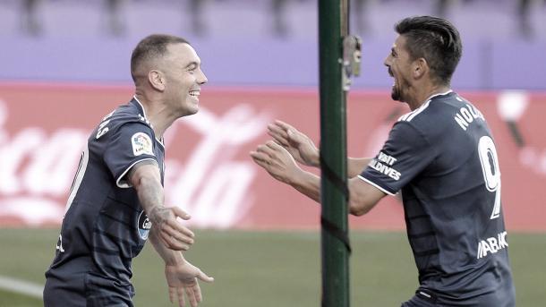 Iago Aspas y Nolito celebrando un gol frente al Real Valladolid / Foto: rccelta.es
