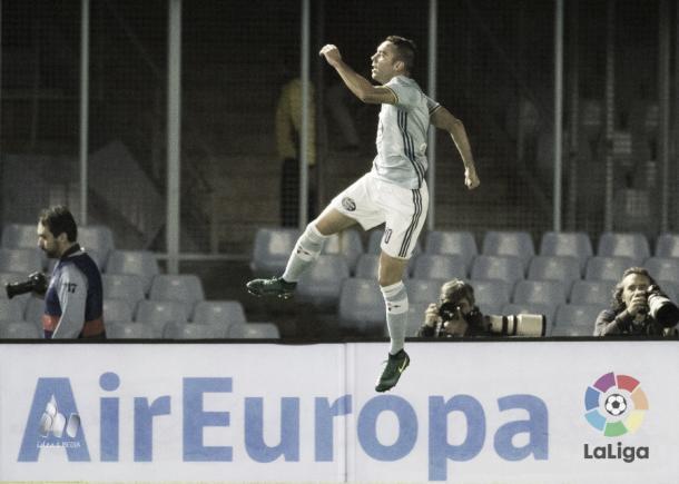 Iago Aspas celebrando un gol. Imagen: www.laliga.es