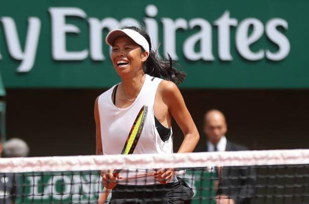 Hsieh Su-Wei celebrates after her first round win over Johanna Konta at the French Open (Getty/Ian MacNicol)