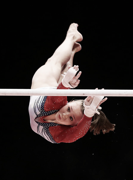 Madison Kocian performs her bars routine for the US National Team. She would help lead UCLA to a second place finish this afternoon. Photo Credit: Ian McNichols of Getty Images Europe