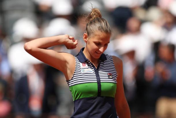 Karolina Pliskova celebrates her quarterfinal win over Caroline Garcia at the French Open (Getty/Ian MacNicol)