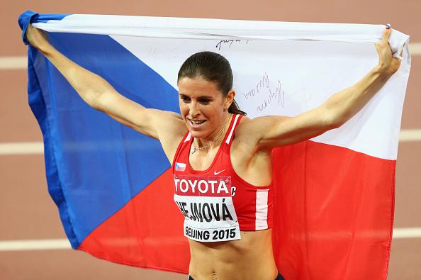Zuzana Hejnova celebrates after winning gold at the World Championships last year (Getty/Ian Walton)