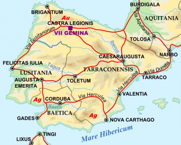 Hispania romana hacia el año 125 d.C. (PD).