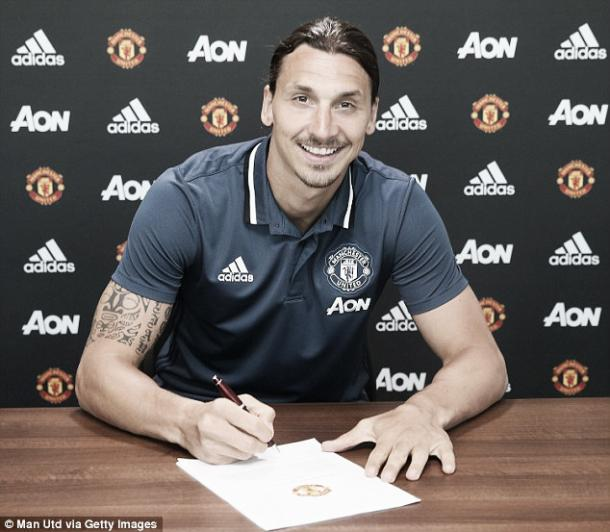 Above: Zlatan Ibrahmovic been unveiled as a Manchester United player | Photo: Man Utd via Getty Images