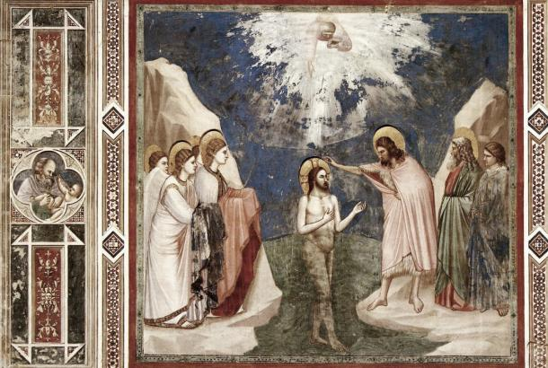 Bautismo de Jesús en el Jordán, de Giotto. Fotografía de: ellogosenelarteuniversal.blogspot.com