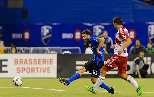 Ignacio Piatti (in blue, #10, right) taking a shot against the New York Red Bulls on March 12th, 2016. Photo credit: Minas Panagiotakis / Getty Images Sport