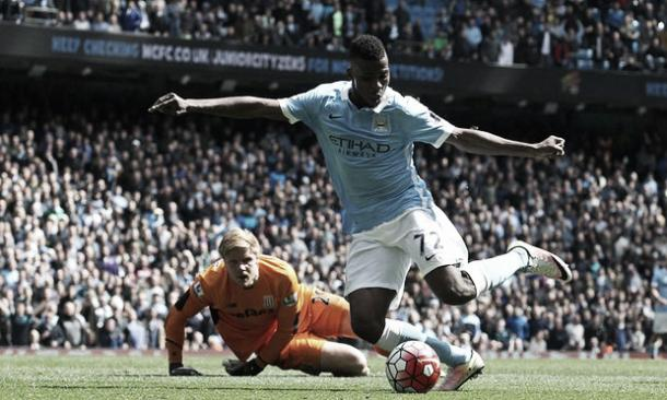 Iheanacho slots his second goal of the match having rounded Jakob Haugaard. Photo: Getty Images