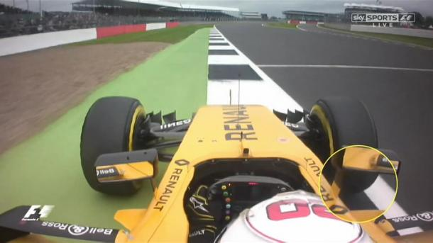 This was the moment where Magnussen appeared to go all four-wheels off track (Image credit: Sky Sports F1)