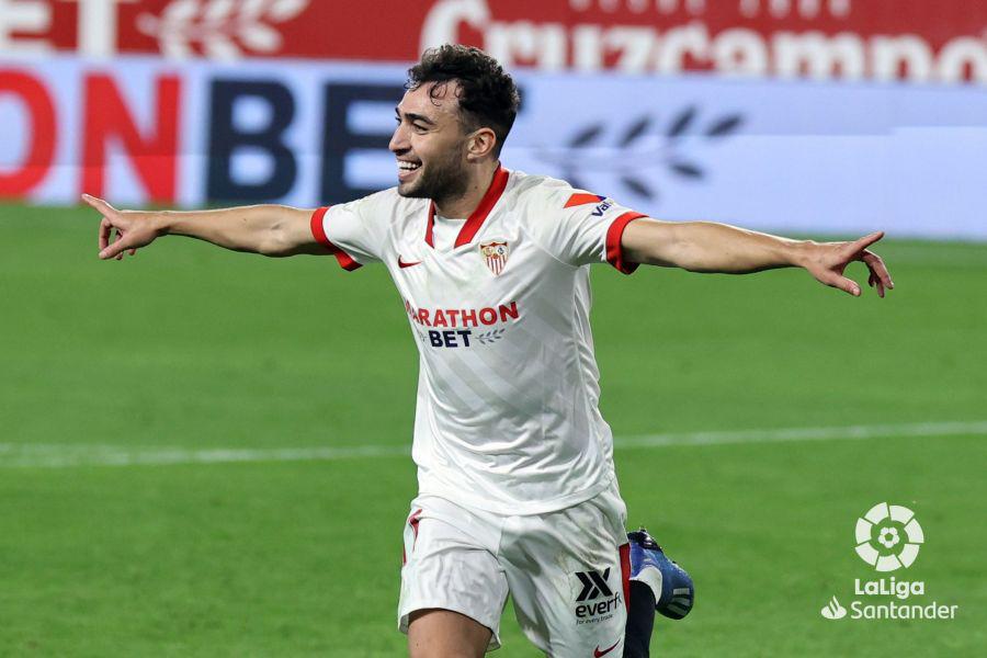 Munir celebrando su tanto en el partido de ida | Fuente: LaLiga