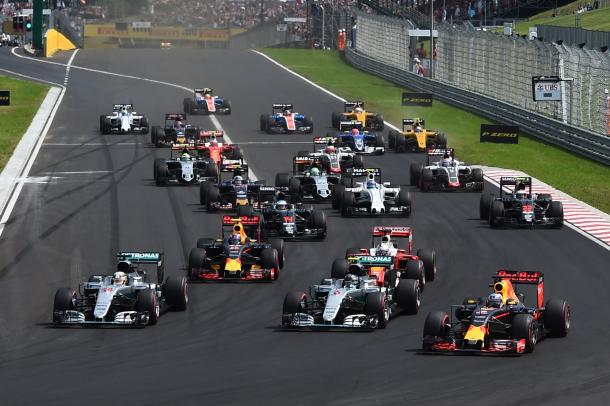 Hamilton went up the inside of Rosberg at T1 and was never challenged throughout the 70 laps. (Image Credit: Formula One.com)