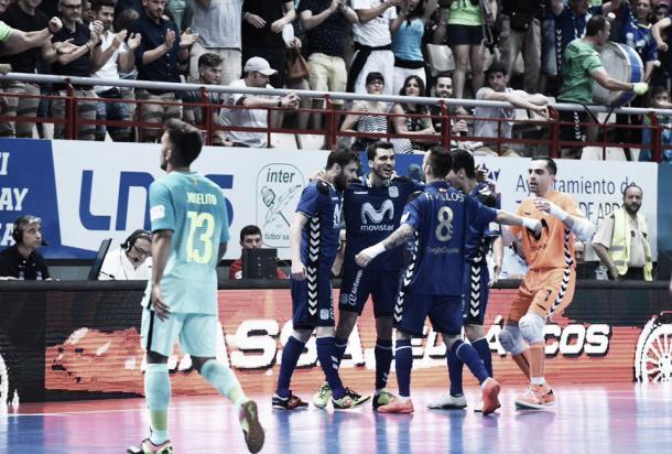 Inter Movistar celebrando el gol de Gadeia | Foto: InterMovistar
