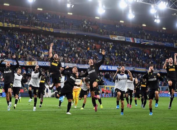 nter celebra la victoria por 3-1 ante la Sampdoria el último fin de semana / Foto: @Inter
