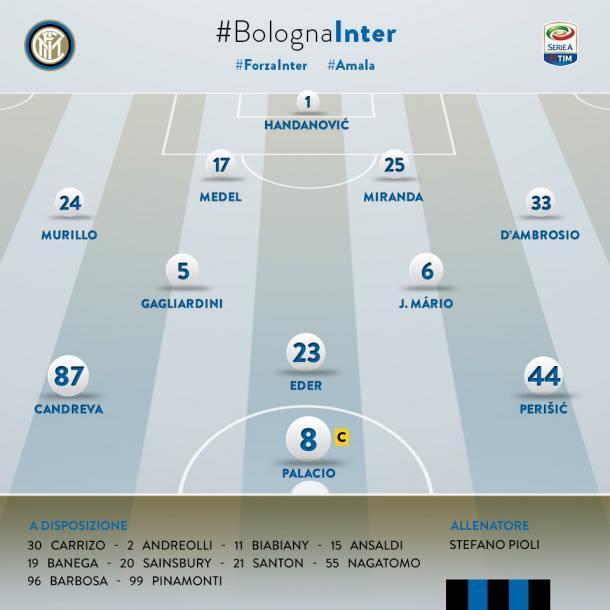 La formazione ufficiale dell'Inter, twitter.com