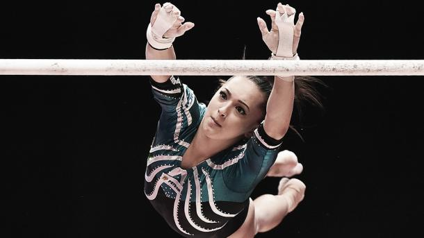 Larisa Iordache competes on the Uneven Bars. Photo Credit: Getty Images