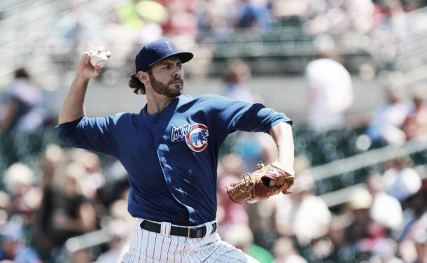 Jake Arrieta pitching against the Albuquerque Isotopes during the second inning at Principal Park in Des Moines, Iowa on Sunday, July 14, 2013. Photo: Dylan Heuer of Dylan Heuer Productions
