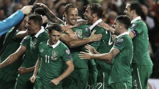 Ireland players celebrate their victory over Germany back in October (Picture from Sky Sports)