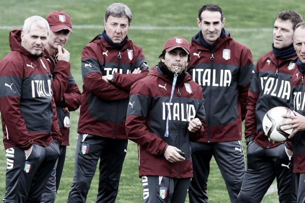 Above: New Chelsea manager Antonio Conte and his international coaching staff | Photo: The Mirror