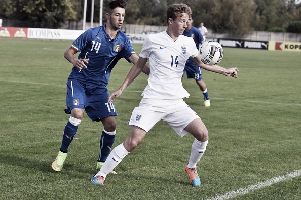 Dowell in action for England U18 against Italy U18. | Image: FA