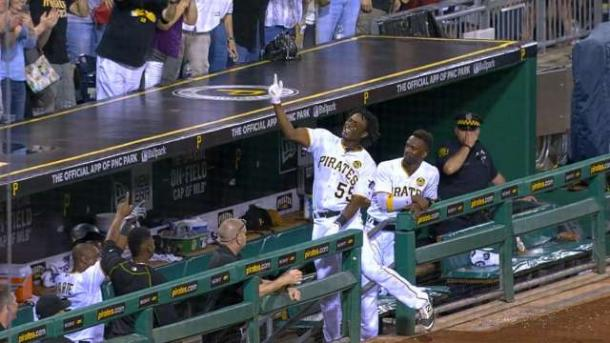 (Josh Bell is another young prospect that has contributed. In just two Major League at bats, Bell has a single off of Jake Arrieta and a grand slam.   -Photo Courtesy of MLB.com)