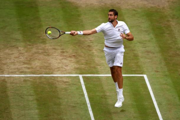Marin Cilic in action during his semifinal win over Sam Querrey (Getty/Julian Finney)