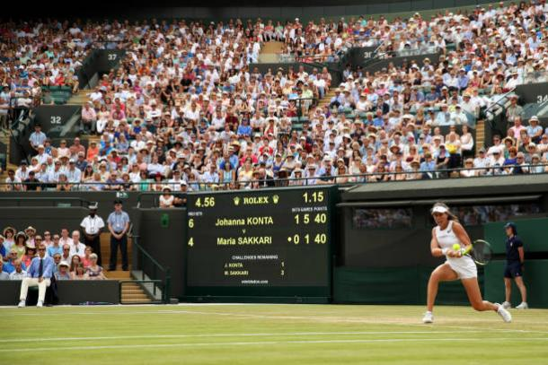 Johanna Konta during the closing stages of her victory earlier today (Getty/Julian Finney)
