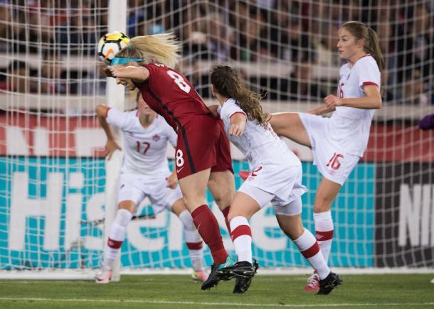 Ertz scoring off a corner against  American rival, Canada. l Source: U.S. Soccer