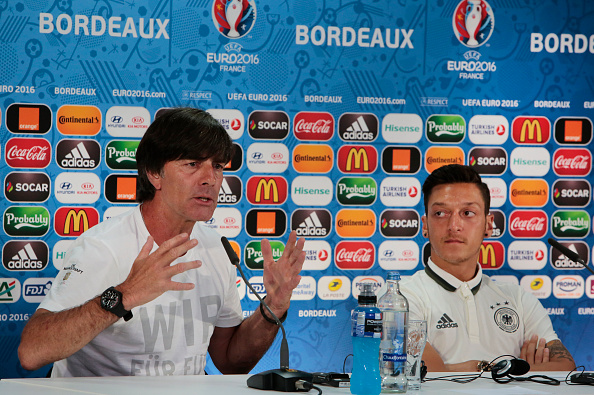 Mesut Özil accompanied his coach to the pre-match press conference in Bordeaux. | Image credit: Handout/UEFA via Getty Images