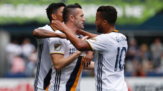 The Los Angeles Galaxy celebrating Robbie Keane's goal on Saturday against the Seattle Sounders FC at CenturyLink Field. Photo p[rovided by Joe Nicholson-USA TODAY Sports