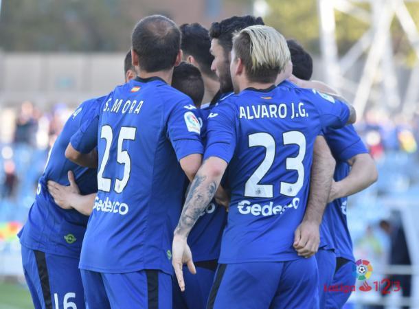 Los jugadores del Getafe celebran uno de los tantos conseguido ante el Levante | LaLiga