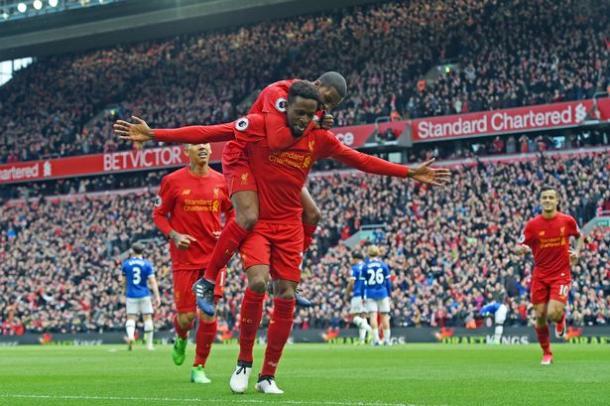 Origi esulta per un gol nel derby con l'Everton. Fonte: http://i3.liverpoolecho.co.uk