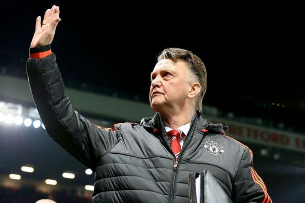 Louis van Gaal waves to the crowd during the impressive win against FC Midtjylland in the Europa League