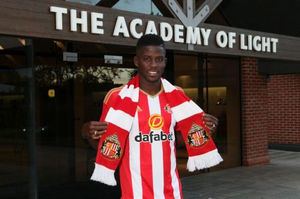 2016 Sunderland AFC Papy Djilobodji pictured after becoming David Moyes first signing | photo: Chronicle Live