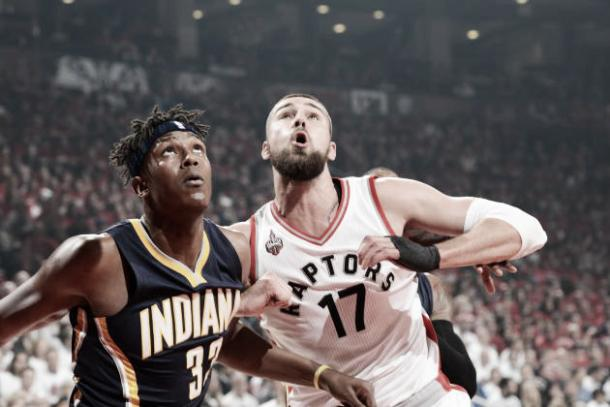 Jonas Valanciunas takes on Myles Turner in the second quarter on Sunday night | (Ron Turenne - Getty Images)