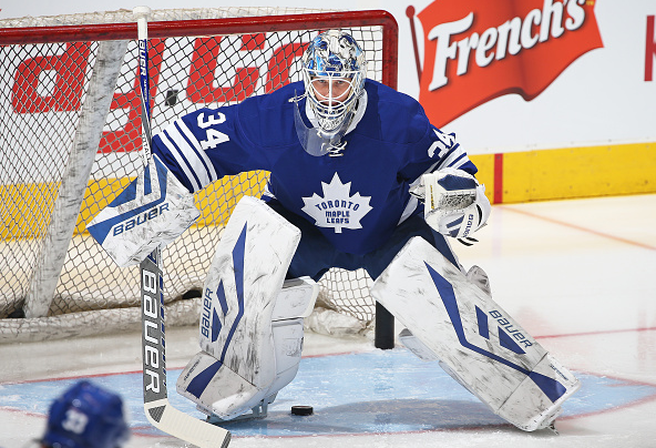 James Reimer of the Toronto Maple Leafs faces a shot in the warm-up prior to play against the New York Rangers in an NHL game at the Air Canada Centre on February 18, 2016 in Toronto, Ontario, Canada. The Rangers defeated the Maple Leafs 4-2 / Claus Andersen - Getty Images