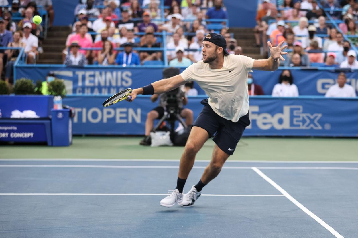Sock hitting a volley during his match against Nadal (Ryan Loco/Citi Open)