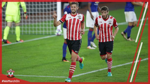 Jack Stephens celebrates his goal | Photo: Southampton FC