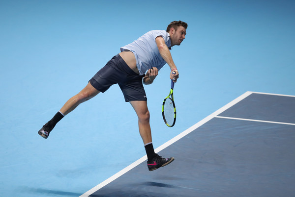 Jack Sock's serve rescued him from the brink on several occasions today | Photo: Julian Finney/Getty Images Europe