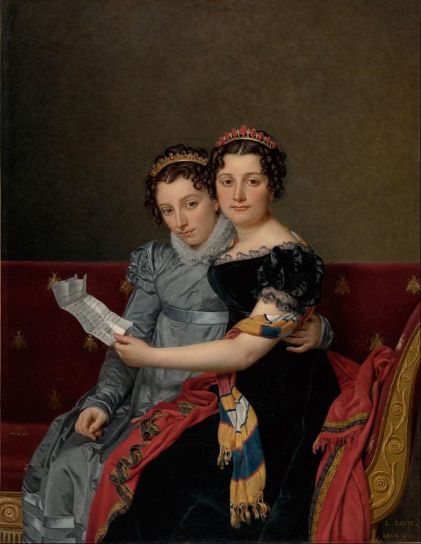 Retrato de las Hermanas Zénaïde y Charlotte Bonaparte (1821) leyendo una carta de Filadelfia enviada por su padre, por Jacques-Louis David (1748 - 1825) PD.