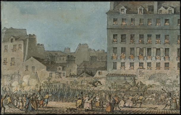 Luis XVI Entrando en París, 6 de octubre de 1789, por Jacques François Joseph Swebach (1769-1823), Museo Metropolitano de Arte (PD).