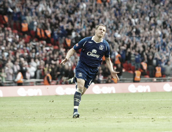 Phil Jagielka sends the Blues into the FA Cup final in 2009. Photo: Pintrest